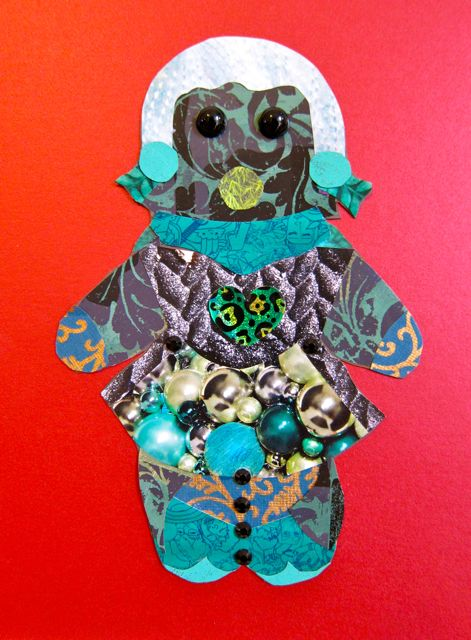 """Green Gingerbread Girl"" for Pam, Collage by Catherine Raine 2012"