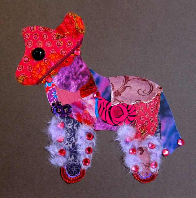 """Bling Donkey"" for Mindy, Collage by Catherine Raine, 2012"