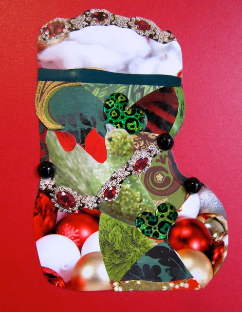 """Bling Stocking"" for Carol, Collage by Catherine Raine, 2012"