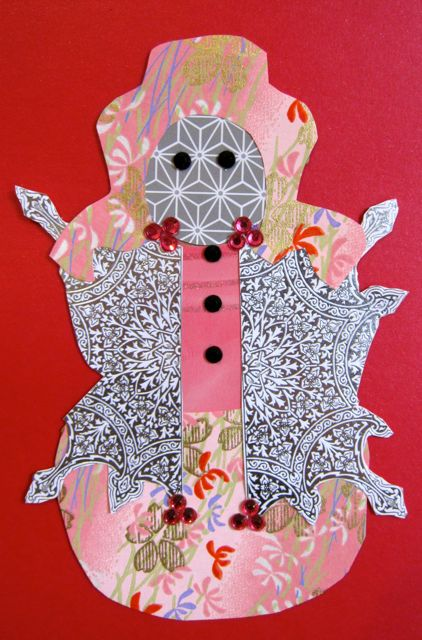 """Fancy Snow-woman"" for Kristine, Collage by Catherine Raine, 2012"