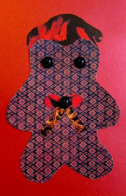 """French Teddybear"" for Gina, Collage by Catherine Raine, 2012"