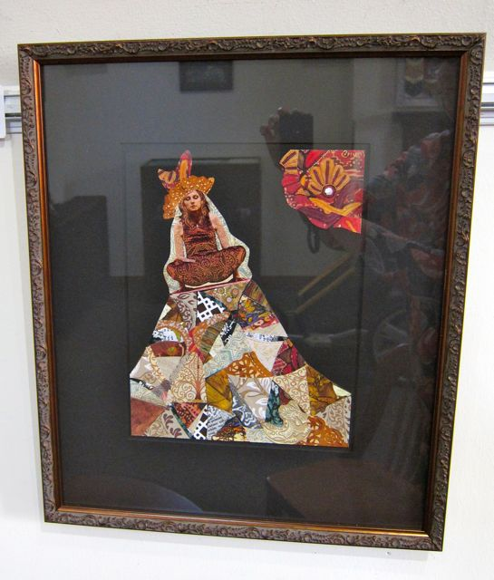 Yogic Flying on a Crazy Quilt, Collage by Catherine Raine, 2012