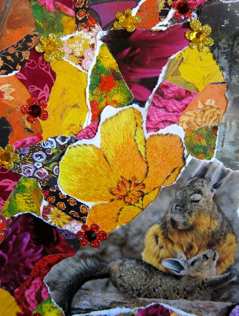 Chinchillas and a Still Pool, Collage by Catherine Raine, 2013